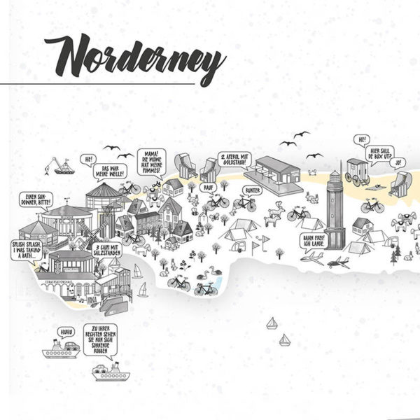 Rapü Design Norderney Stadtteilposter Stadtposter Stadtkarte Inselposter A3 Detail