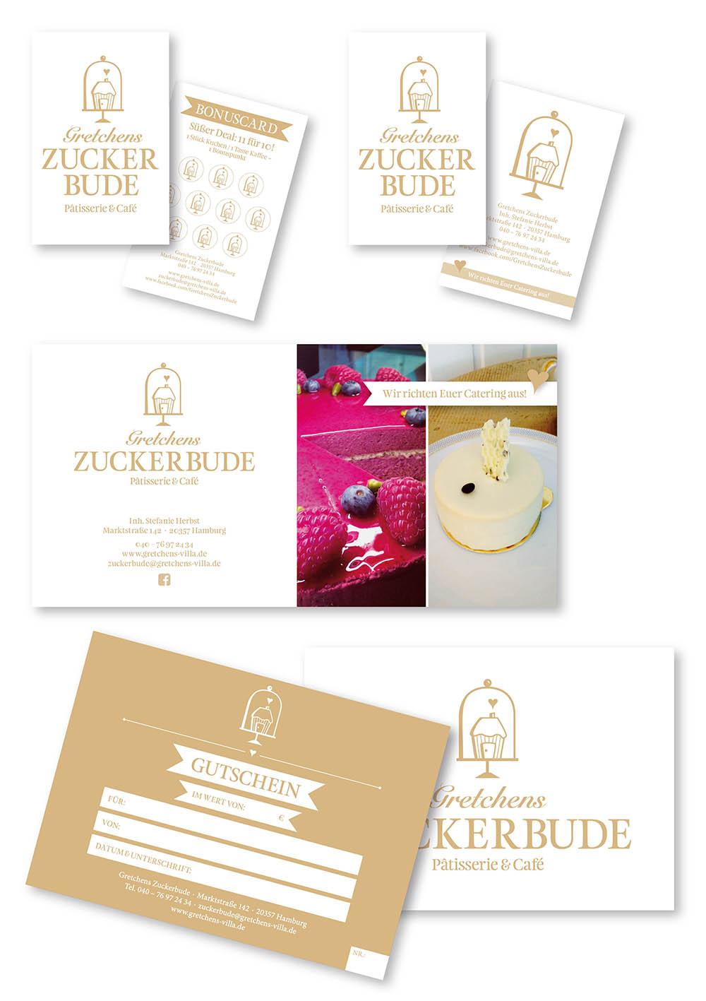 Gretchens Zuckerbude Gestaltung Layout Stempel Flyer Gutscheinkarten