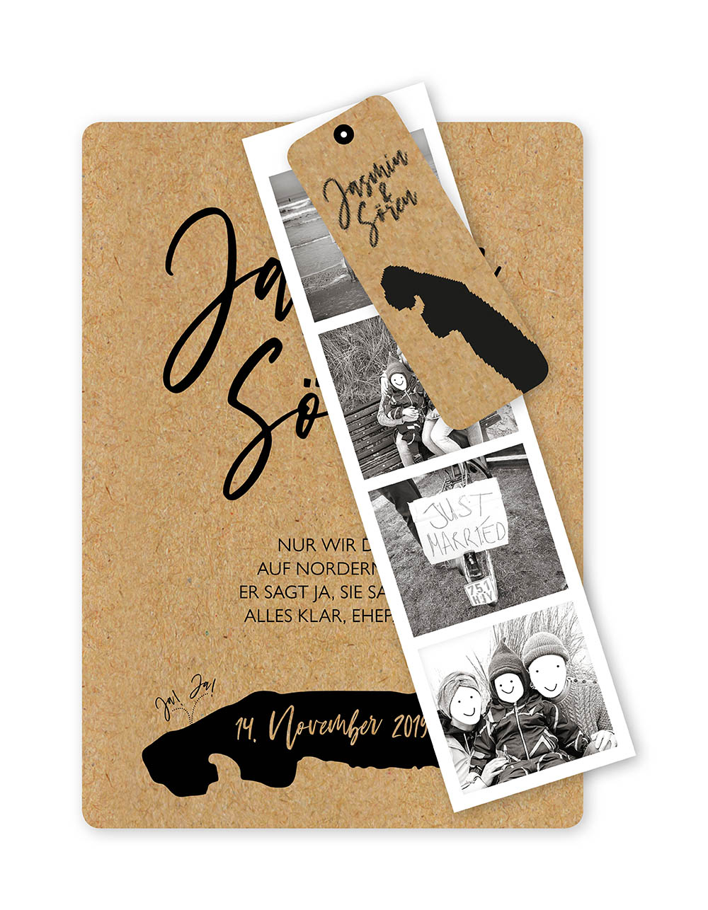 Jasmin Soeren Hochzeitseinladung Kraftpapier Fotostreifen A6