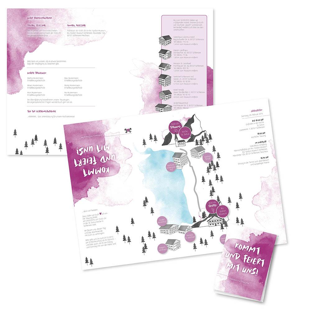 Nanni Christopher Hochzeitseinladung Landkarte Berge Bayern A3