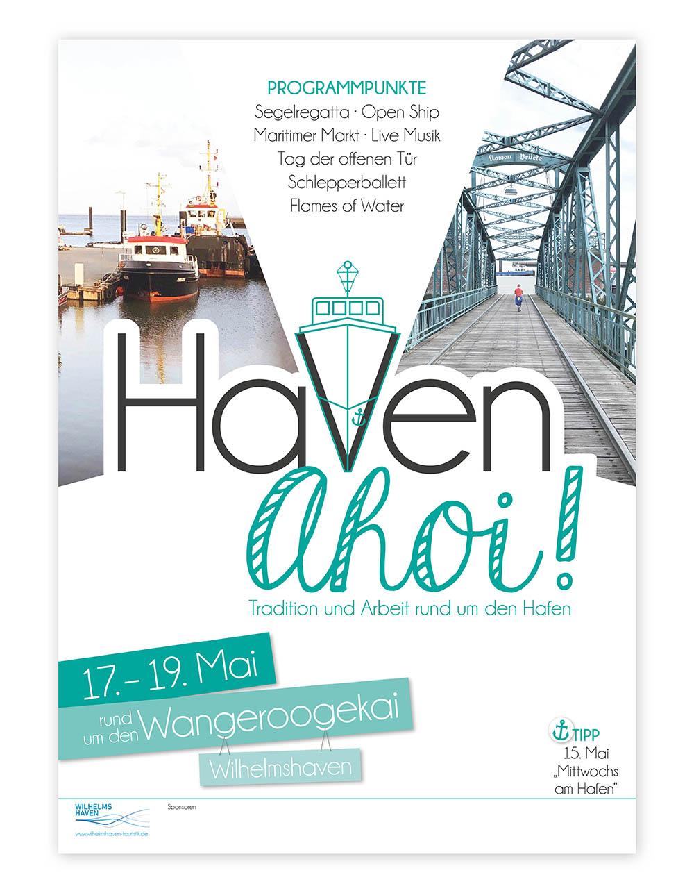 Wilhelmshaven Touristik Plakat Haven Ahoi Gestaltung Layout Logo
