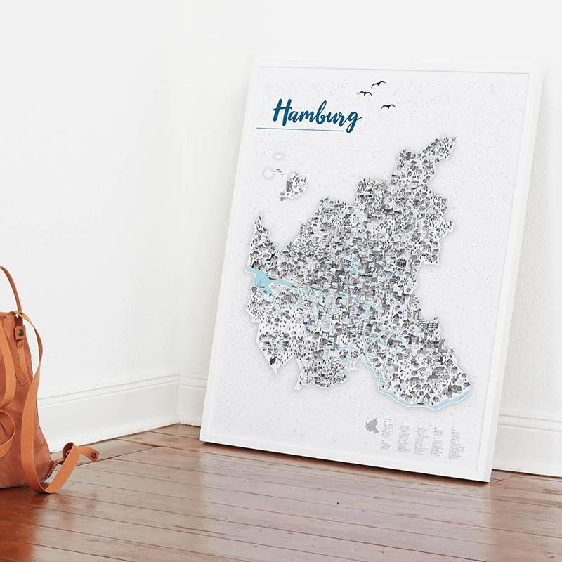 Rapü Design Hamburg Poster Stadtkarte Auflage3 70x100cm Wand