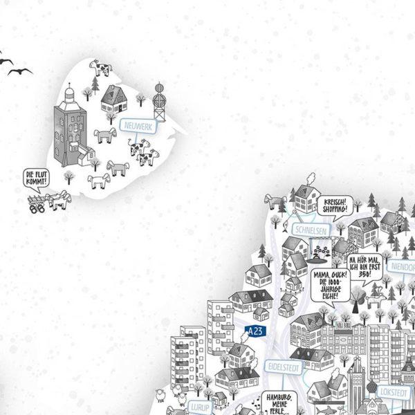 Rapü Design Hamburg Poster Stadtkarte Auflage3 70x100cm Detail