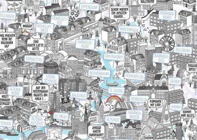 Rapü Design Hamburg Poster Stadtkarte Auflage3 70x100cm Detail Mitte