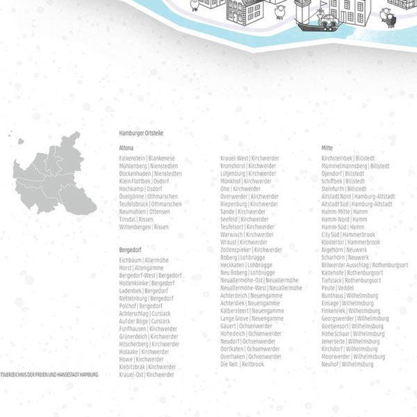 Rapü Design Hamburg Poster Stadtkarte Auflage3 70x100cm Detail Ortsteile