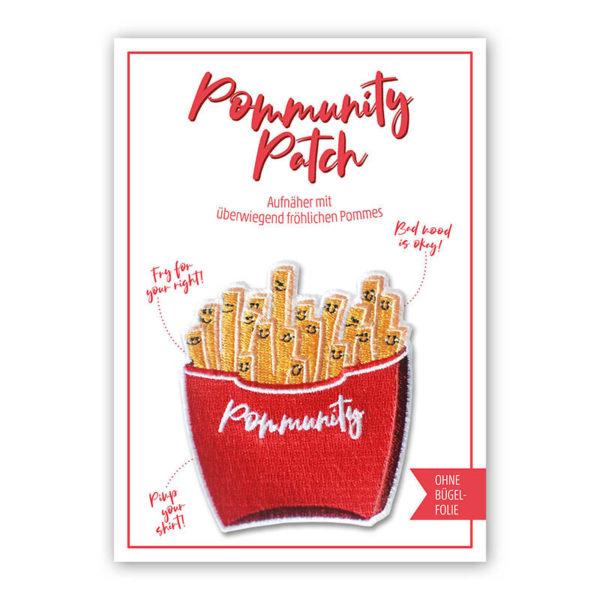 Rapü Design Pommes Patch Pommes Bügelbild Pommes Aufnäher Pommunity