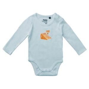 Rapü Design Rapüchen babystrampler strampler lange ärmel hell-blau Stinker Käse Patch Front