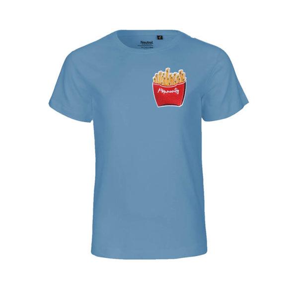 Rapü Design Rapüchen kindershirt tshirt indigo-blau Pommunity pommes Patch Front