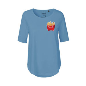 Rapü Design ladies-shirt tshirt indigo-blau Pommunity pommes Patch Front