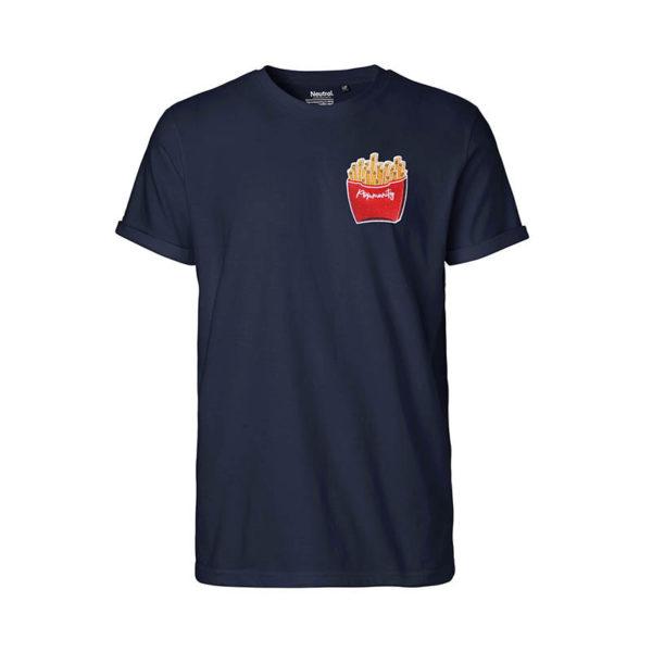 Rapü Design unisex-shirt tshirt navy-blau Pommunity pommes Patch Front