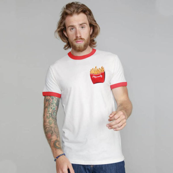 Rapü Design unisex retro-shirt tshirt weiß-rot Pommunity pommes Patch Front