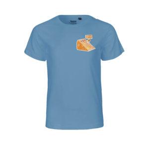 Rapü Design Rapüchen kindershirt tshirt indigo-blau Stinker Käse Patch Front