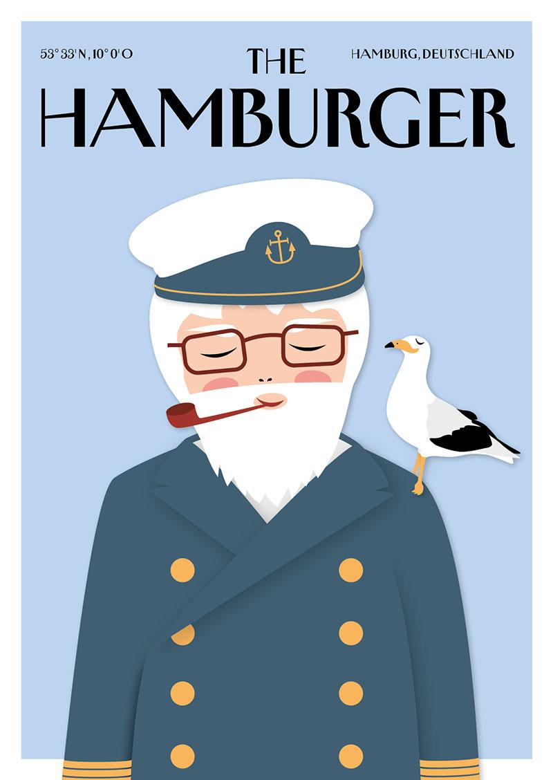 City Products Martina Olonschek Postkarten Illustration The Hamburger A6