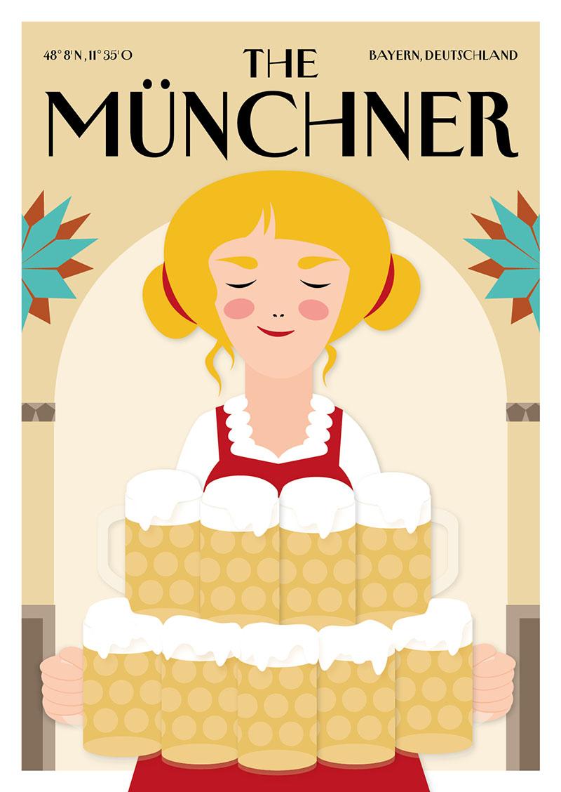 City Products Martina Olonschek Postkarten Illustration The Münchner A6