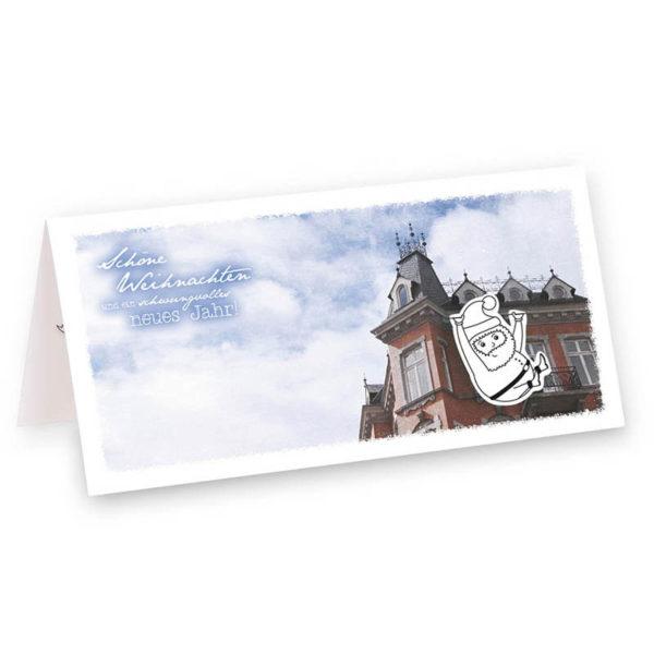 Balkonien Weihnachtskarte Klappkarte Frau Schnobel Grafik