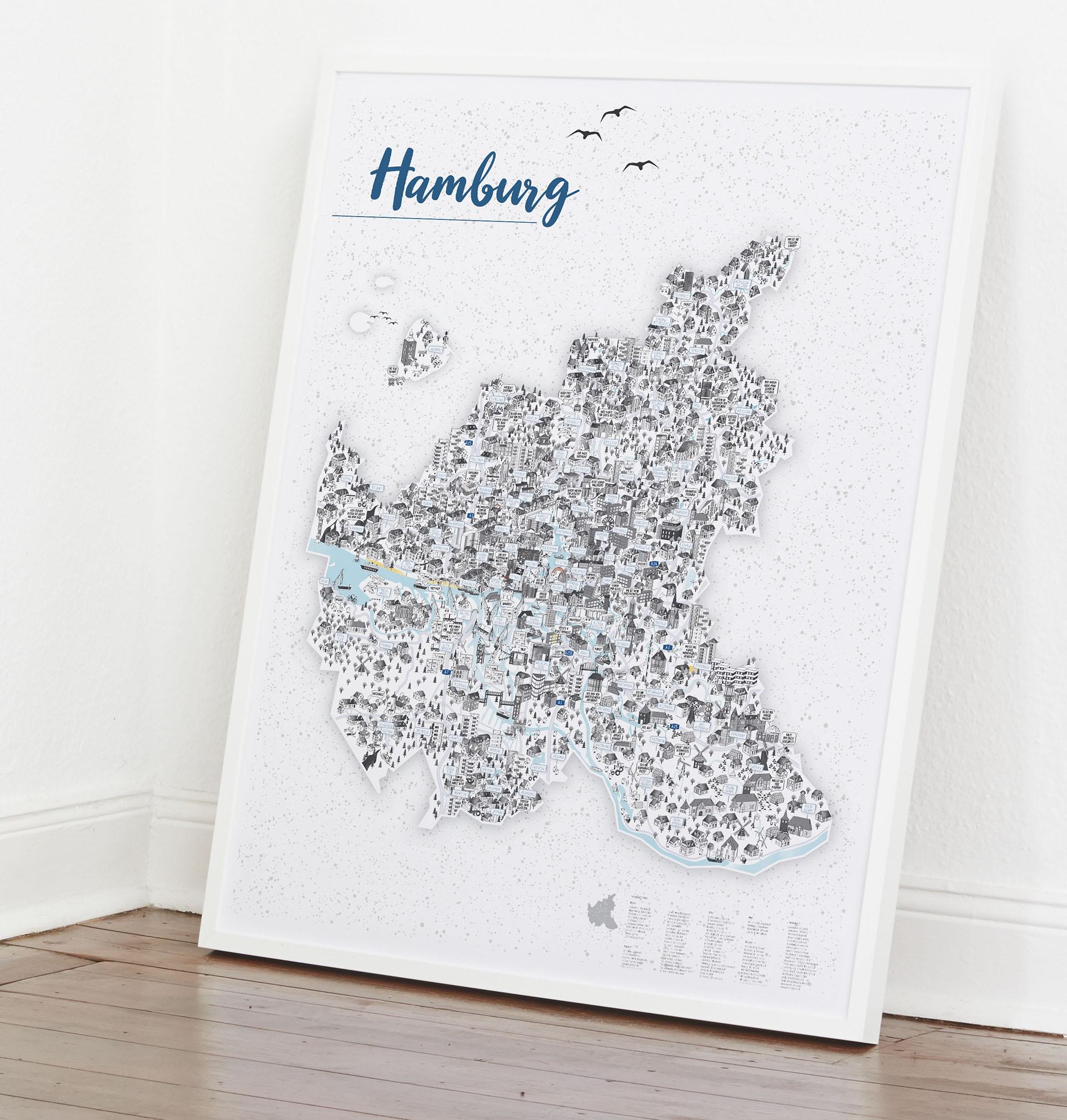 Hamburg Stadtkarte Städte Illustration Stadtbild