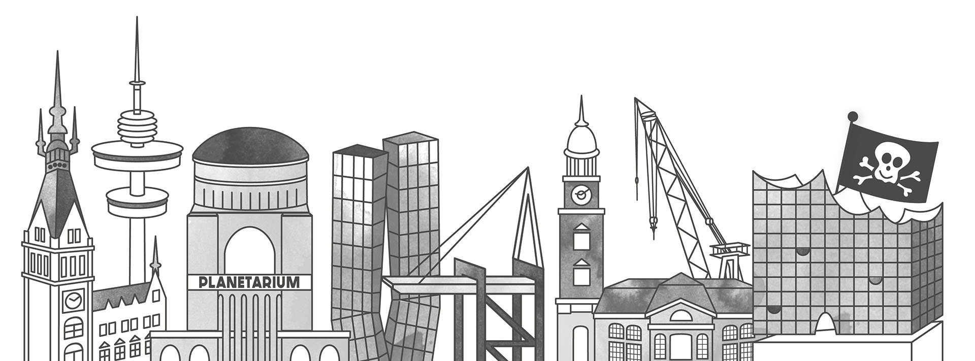 Skyline Hamburg Stadtplanillustration