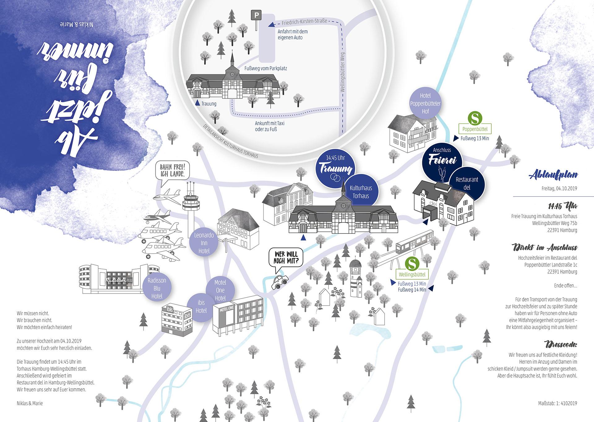 Stadtkarte Straßenplan außergewöhnliche Hochzeitseinladung Front